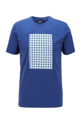 Slim-fit T-shirt in cotton with 3D seasonal print, Light Blue