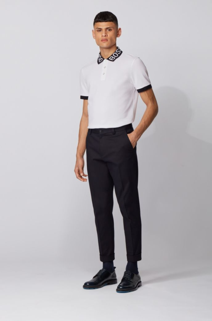 Regular-fit polo shirt with logo collar