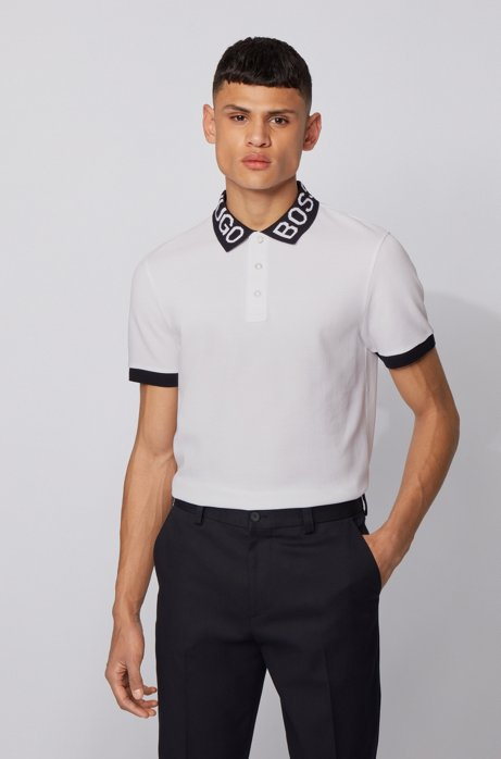 Regular-fit polo shirt with logo collar, White