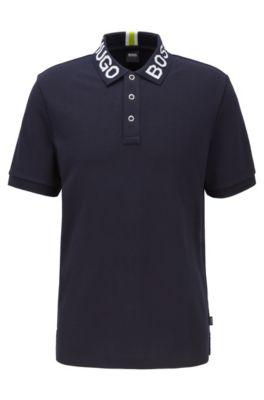 Regular-fit polo shirt with logo collar, Dark Blue