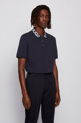 Regular-fit polo shirt with logo collar, Dark Blue