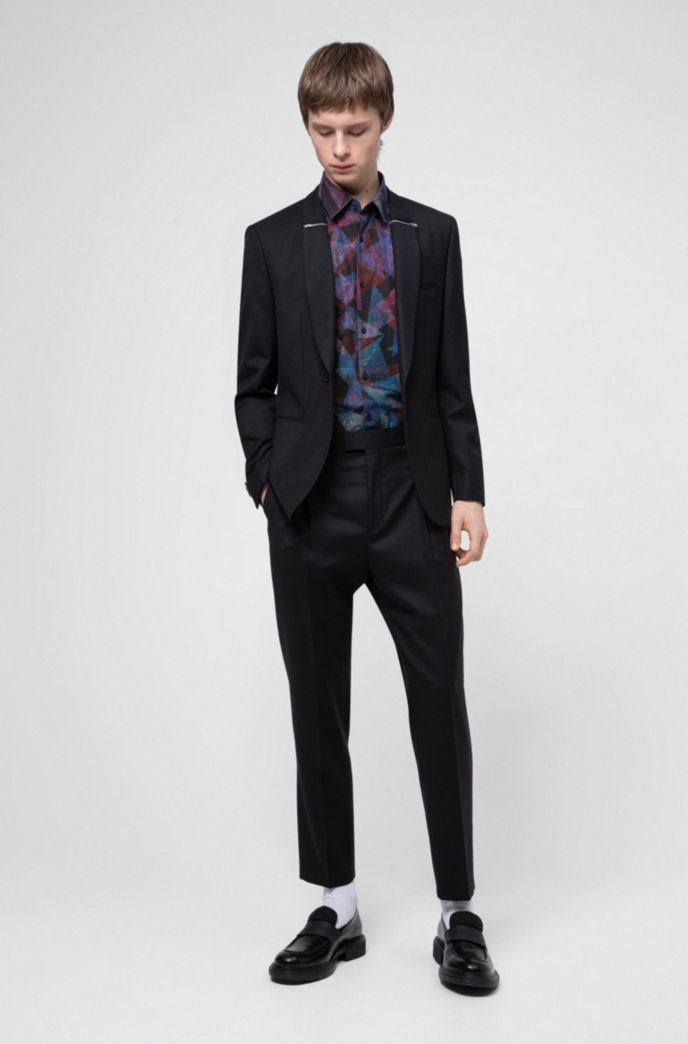 Extra-slim-fit evening jacket with zip-trimmed lapels