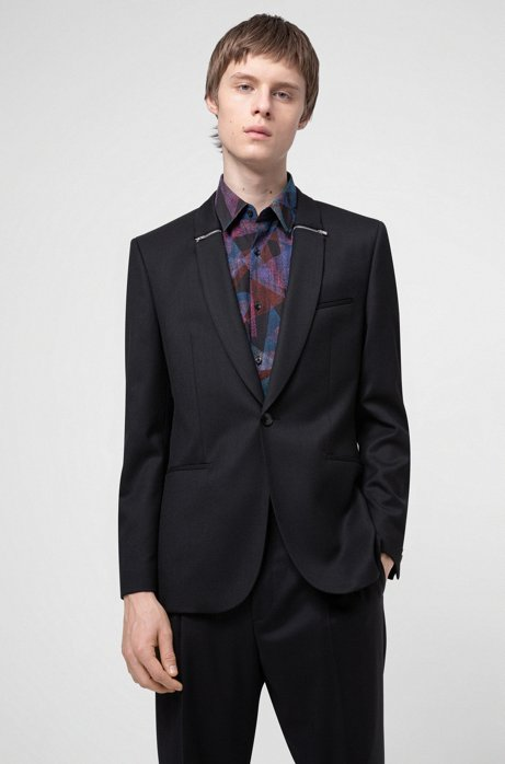 Extra-slim-fit evening jacket with zip-trimmed lapels, Black