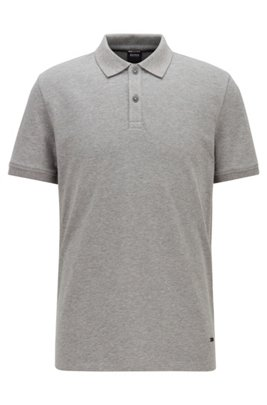 Slim-fit polo shirt with dot-patterned details, Grey