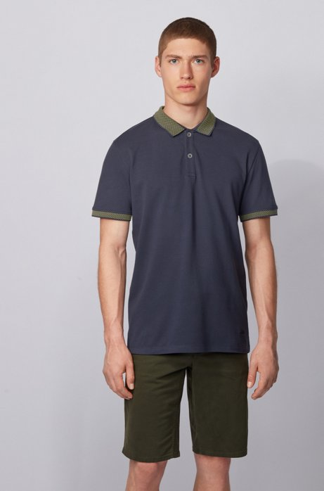 Slim-fit polo shirt with dot-patterned details, Dark Blue
