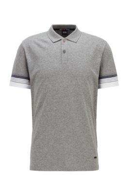 Cotton polo shirt with jacquard-stripe sleeves, Grey