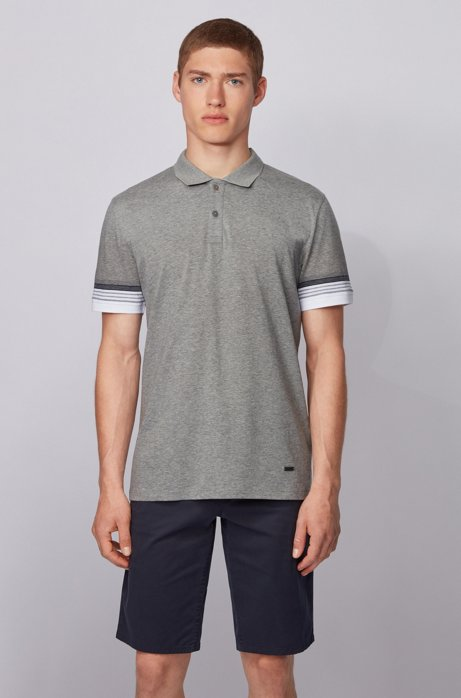 Cotton polo shirt with jacquard-stripe sleeves, Grey