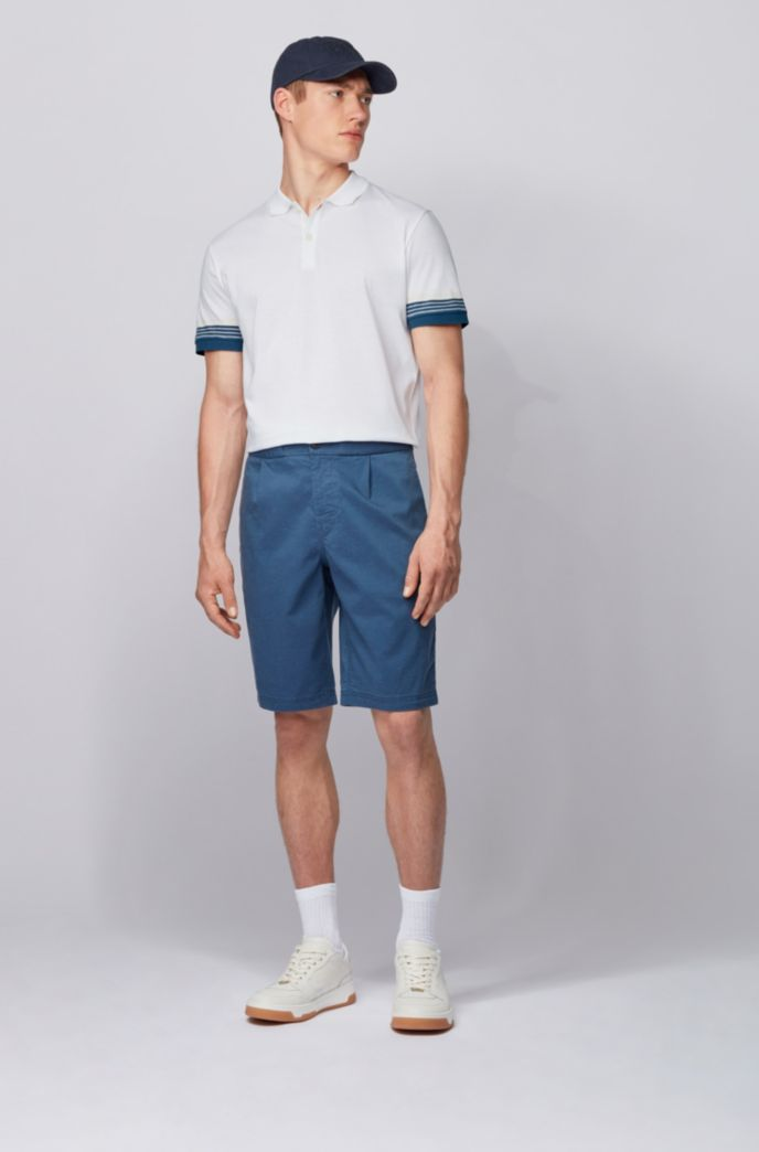 Cotton polo shirt with jacquard-stripe sleeves