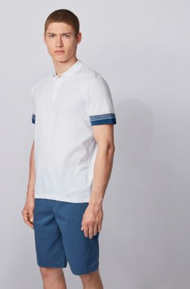 Cotton polo shirt with jacquard-stripe sleeves, White