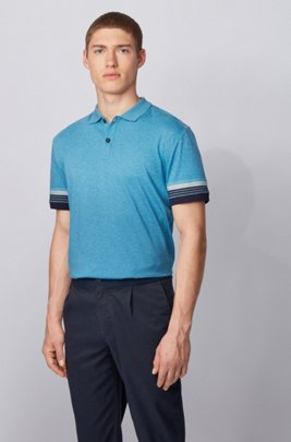 Cotton polo shirt with jacquard-stripe sleeves, Turquoise