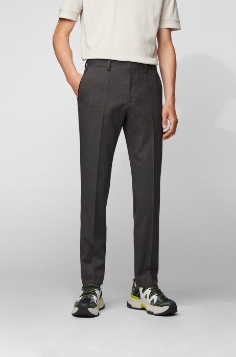 Slim-fit pants in stretch cotton with pocket detailing, Grey