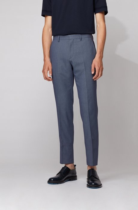 Slim-fit pants in stretch cotton with pocket detailing, Light Blue