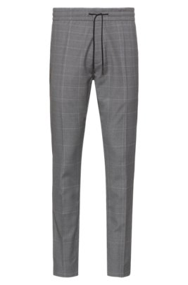 Tapered-fit pants in dégradé-check virgin wool, Light Grey