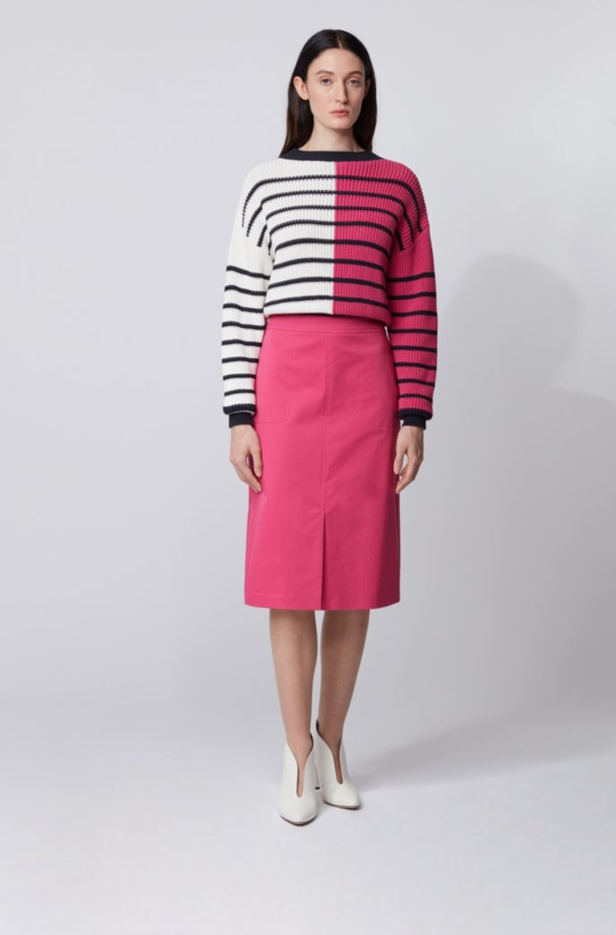 A-line skirt in washed stretch-cotton twill