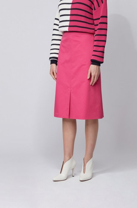 A-line skirt in washed stretch-cotton twill, Pink