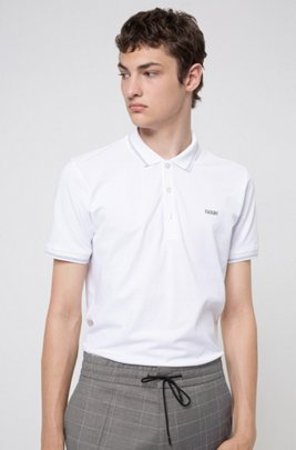 Slim-fit polo shirt with reversed-logo embroidery, White