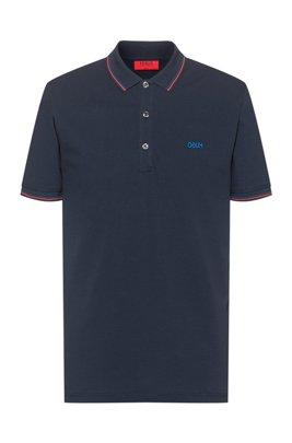 Polo Slim Fit à logo inversé brodé, Bleu foncé
