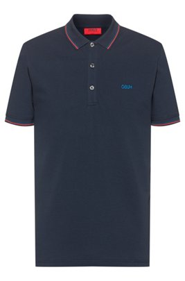 Slim-fit polo shirt with reversed-logo embroidery, Dark Blue