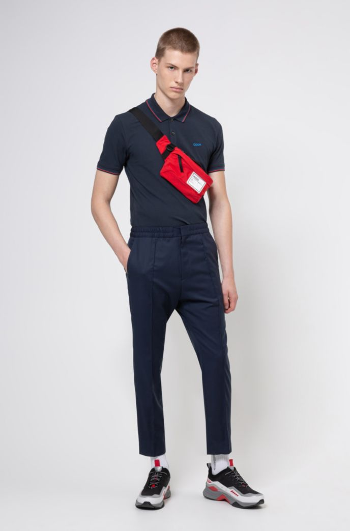 Slim-fit polo shirt with reversed-logo embroidery