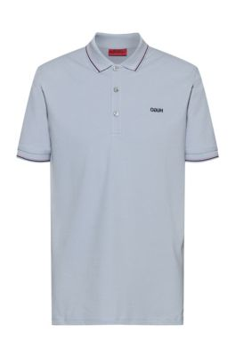 Slim-fit polo shirt with reversed-logo embroidery, Light Blue