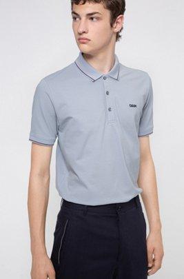 Polo Slim Fit à logo inversé brodé, bleu clair