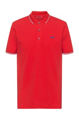 Slim-fit polo shirt with reversed-logo embroidery, light pink