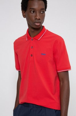 Polo Slim Fit à logo inversé brodé, Rose clair