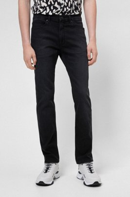 Slim-fit jeans in black-black denim, Dark Grey