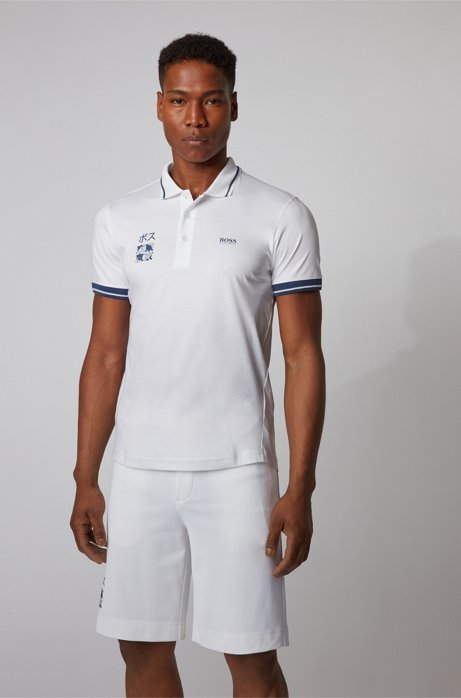 Slim-fit polo shirt in cotton with Tokyo artwork, White