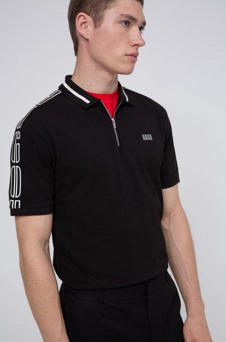 Cotton-piqué zip-neck polo shirt with logo tape sleeves, Black