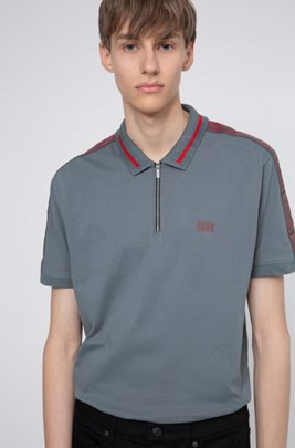 Cotton-piqué zip-neck polo shirt with logo tape sleeves, Dark Grey