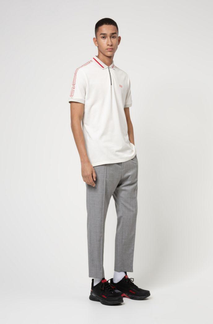 Cotton-piqué zip-neck polo shirt with logo tape sleeves