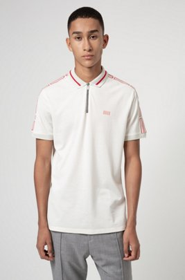 Cotton-piqué zip-neck polo shirt with logo tape sleeves, White