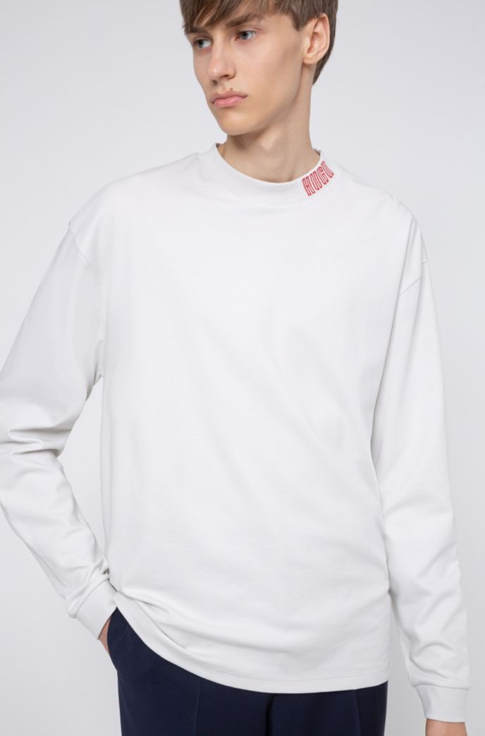 Long-sleeved cotton T-shirt with piano logo