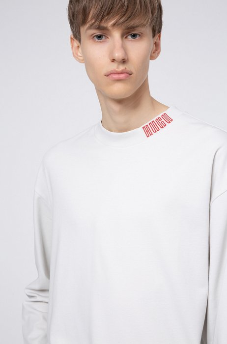 Long-sleeved cotton T-shirt with piano logo, White