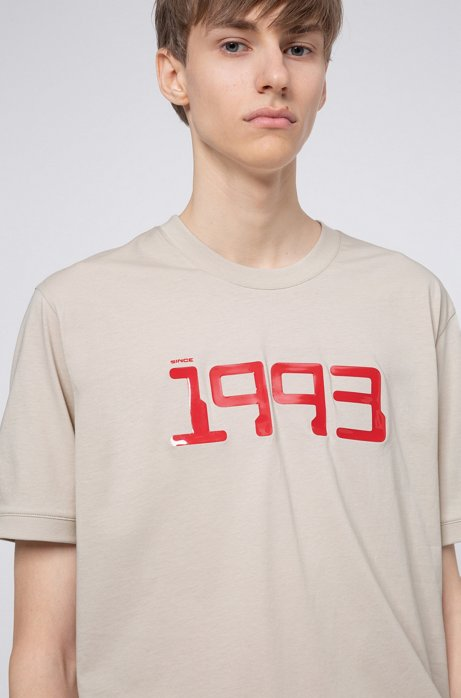 Cotton-jersey T-shirt with tour-style graphic, Beige