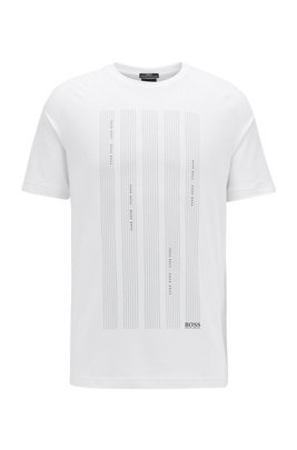 Slim-fit T-shirt in S.Café® fabric with logo graphics, White