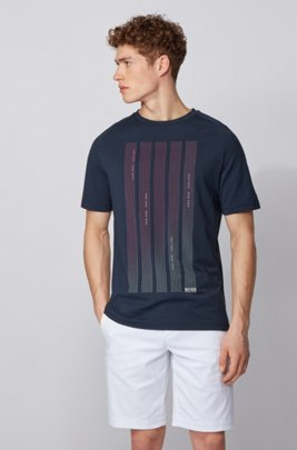 Slim-fit T-shirt in S.Café® fabric with logo graphics, Dark Blue