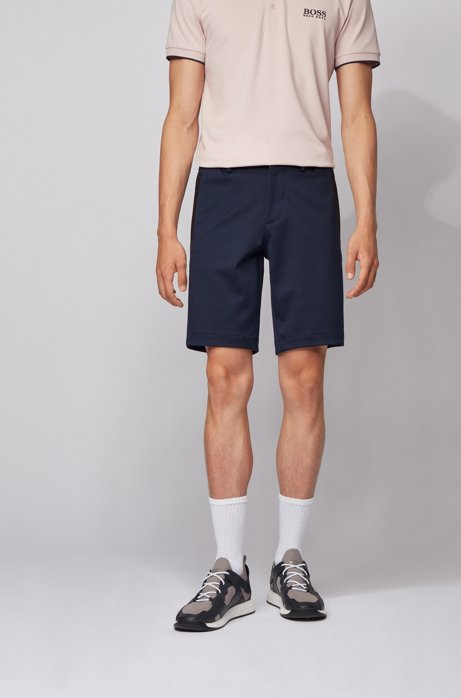 Slim-fit shorts in stretch jersey with belt loops, Dark Blue