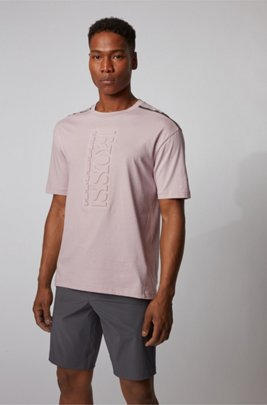 Cotton T-shirt with debossed vertical logo, light pink