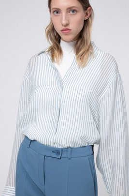 Oversized-fit striped blouse with dropped shoulders, White