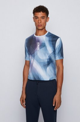 Cotton T-shirt with gradient print and vertical logo, Dark Blue