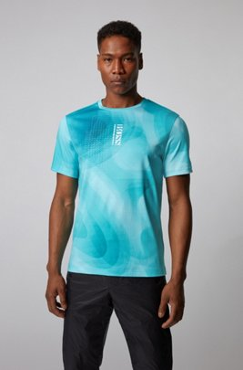 Cotton T-shirt with gradient print and vertical logo, Light Blue