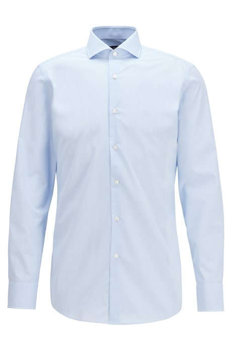 Slim-fit shirt in checked cotton dobby, Light Blue