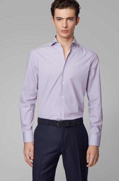 Slim-fit shirt in checked cotton dobby, Dark Purple