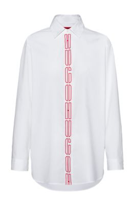 Oversized-fit blouse in stretch cotton with logo placket, White