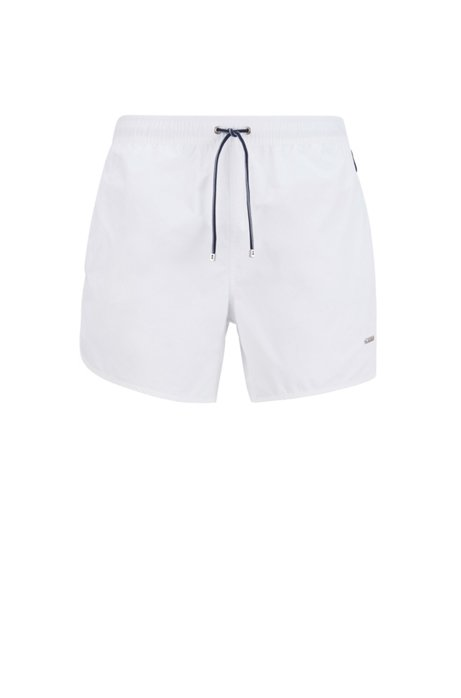 Quick-drying swim shorts with side stripes, White