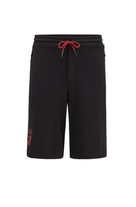 Interlock-piqué shorts with Tokyo artwork, Black