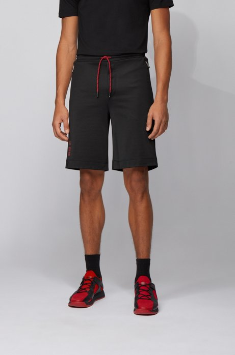 Interlock-piqué shorts with Tokyo artwork, Black