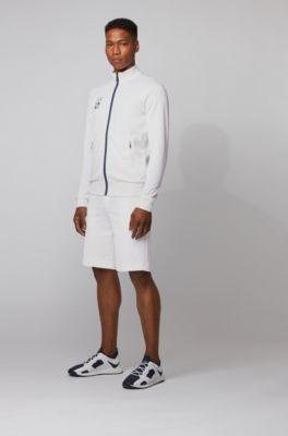 Interlock-piqué shorts with Tokyo artwork, White